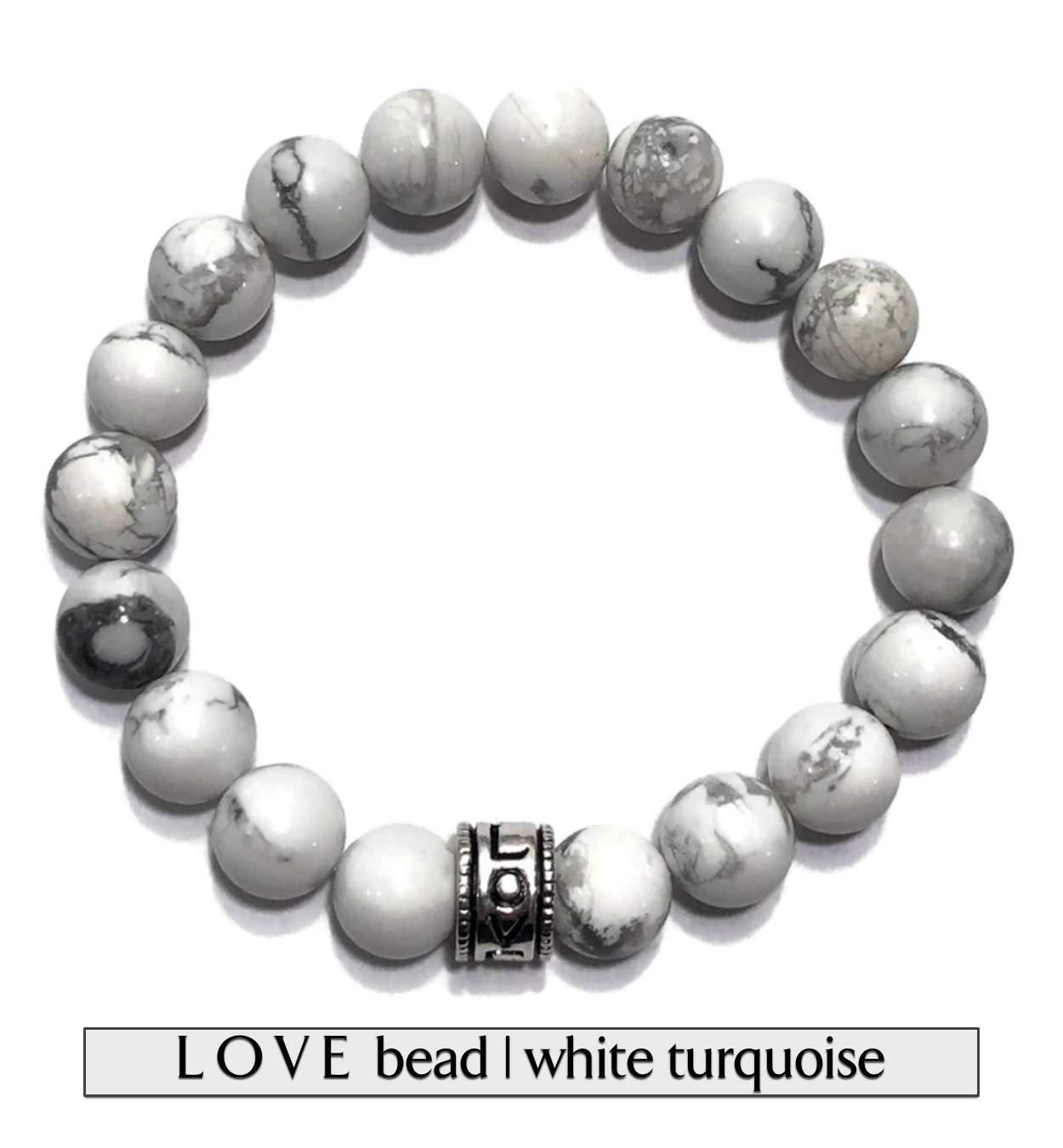 KarmaArm Calming Love Bracelet | Communicate | Yoga Meditation Mantra Mala | Self-Care Wellness Chakra Reiki Healing Energy Beaded Zen Wristband | White Turquoise Jewelry (7)