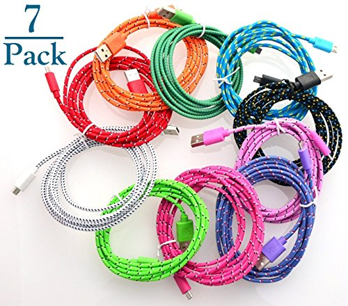 Josi Minea 7 Pcs Fabric Braided Nylon Premium High Quality Ruggedized Micro USB Rainbow Cables 3 Feet / 1 Meter Charger Sync Data Rapid Charging Cable USB Cord Wire for Samsung Galaxy S4 / S3 / S2, Samsung Galaxy Note / Note 2, Galaxy Tab, Google Nexus 7 / 10, Nokia Lumia, and Most Android Tablets / Android Phones / Windows Phones (7 Pack)