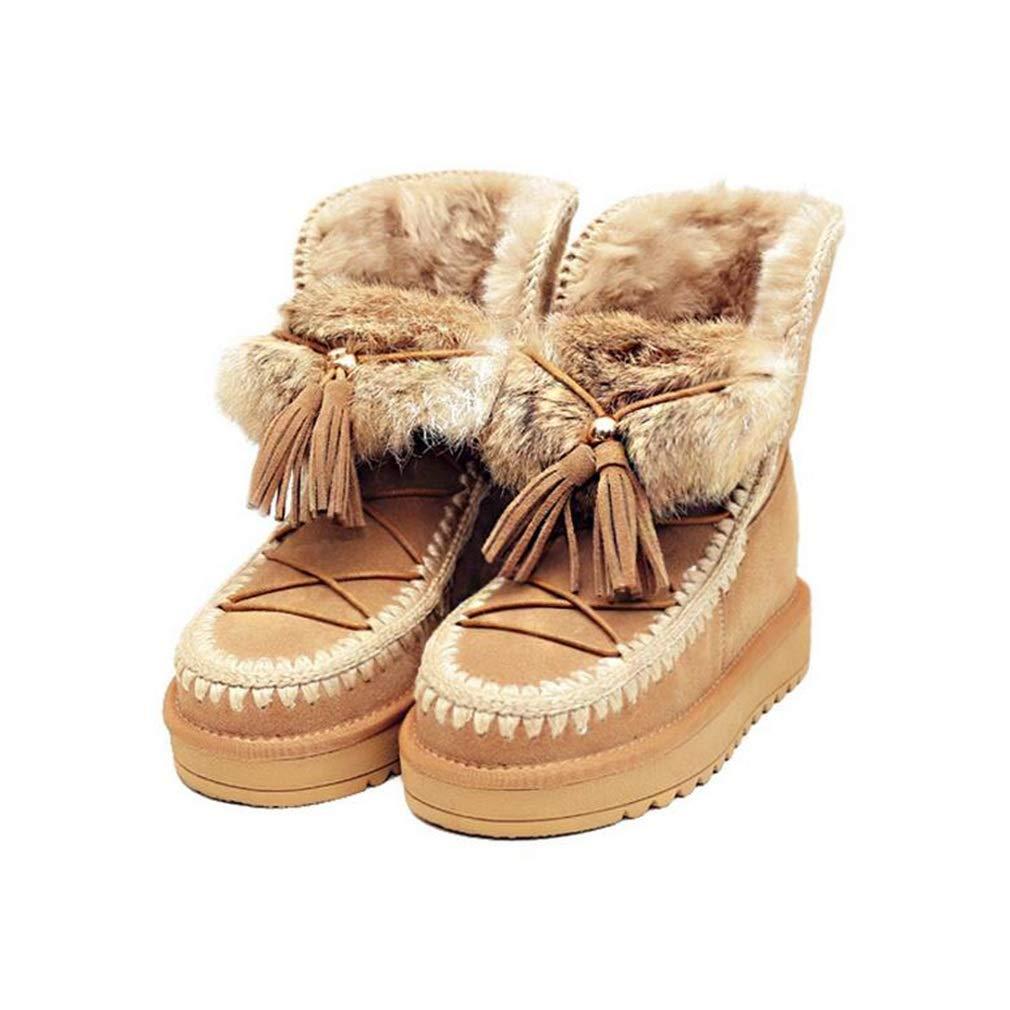 Hy Woherren Casual Schuhe, Winter Flat Plus Kaschmir Warm Windproof Schnee Stiefel, Damen dicken Boden erhöhen Stiefelies Winter Stiefel Wanderschuhe Größe  34-39 (Farbe   Braun, Größe   38)