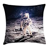 Queen Area Outer Space Decor Moon Spaceman on Surface of Orbit Background Cosmos Galaxy Solar Photo Square Throw Pillow Covers Cushion Case for Sofa Bedroom Car 18x18 Inch, Brown Blue
