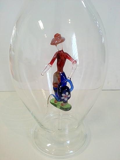 Jarra de cristal transparente, botella, garaffa, decantador de vidrio claro y soplado a