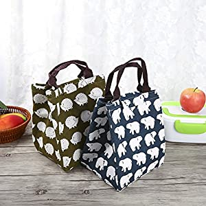 Bento Lunch Pouch Thermal Insulated Lunch Tote Cooler Bag Food Fruit Storage Organizer Water Bottle Holder With Strap For School Toddles Large Capacity Cute Bear Pattern(#2)
