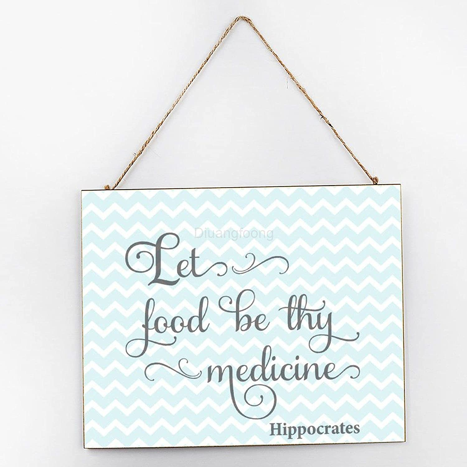 Diuangfoong Let Food Be Thy Medicine Inspirational Wall Art, Inspirational Signage, Wooden Signs for Home Decor Kitchen Bathroom, Wooden Frame Wall Hanging Sign 10x12x0.2 Inch
