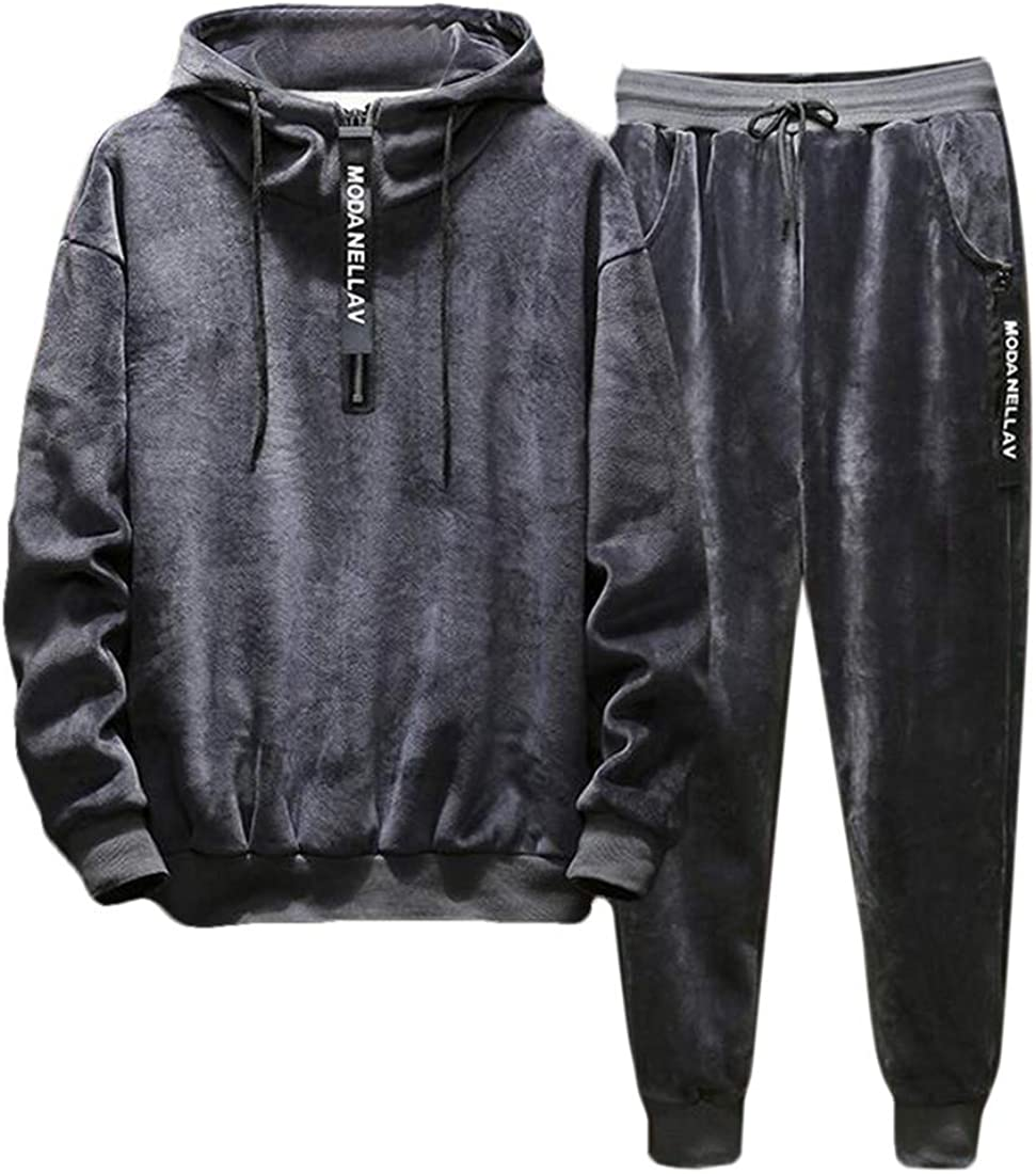 KLJR Men 2 Piece Running Velvet Sweatsuits Hoodies Sets Workout Jogger Tracksuits