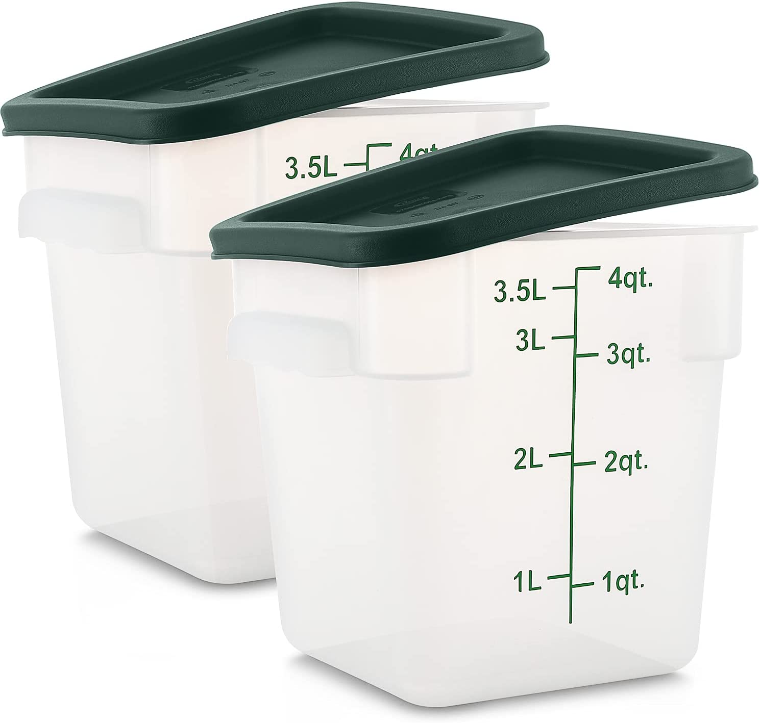 Tafura [Pack of 2] 4 Qt Square Food Storage Container with Lid, Sugar and Flour Keeper, Commercial Grade Plastic Brine Bucket with Cover 4 Quart Sous Vide, Food Prep, Brining Canister. BPA Free