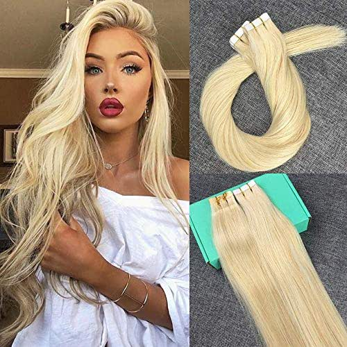 Reysaina 14inch Tape in Blonde Hair Extensions Remy Real Human Hair #613 Bleach Blonde Glue in Extensions 30G Per Package