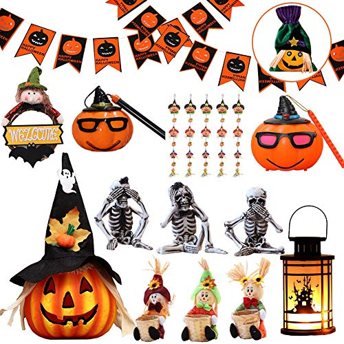 YUELAI Halloween Decoration Set Ornaments Witch Scarecrow Wreath Bunting Foil Swirl Ceiling Hanging Cards Jack-o'-Lantern Pumpkin Paper Lantern Skeleton Candlesticks LED (Send Candy Bag) B
