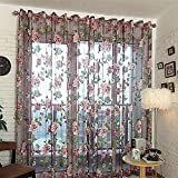 Floral Curtains - All4you 200x98cm Tulle Shielding Window Screen Bedroom Living Room Decorations Panel(Purple)