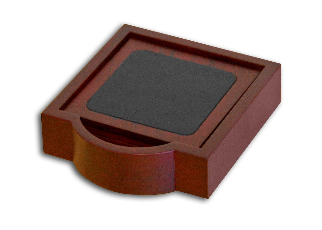Dacasso Rosewood and Leather 4 Coaster Set