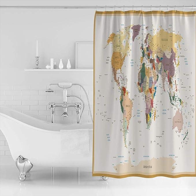 Bathroom Shower Curtain Waterproof Lighthouse Waves Style Panel Fabric Sheer