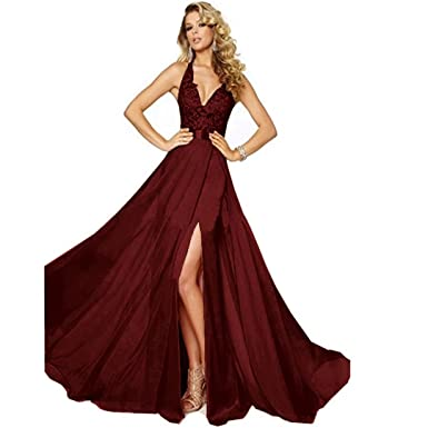 e1ff39751257 Chady Women's V-neck Side Split Backless Lace appliques Long Chiffon Beach  Wedding dresses for