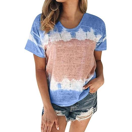 Womens Casual Short Sleeve Tops Shirt Ladies O Neck Loose T-shirt Blouse Tee