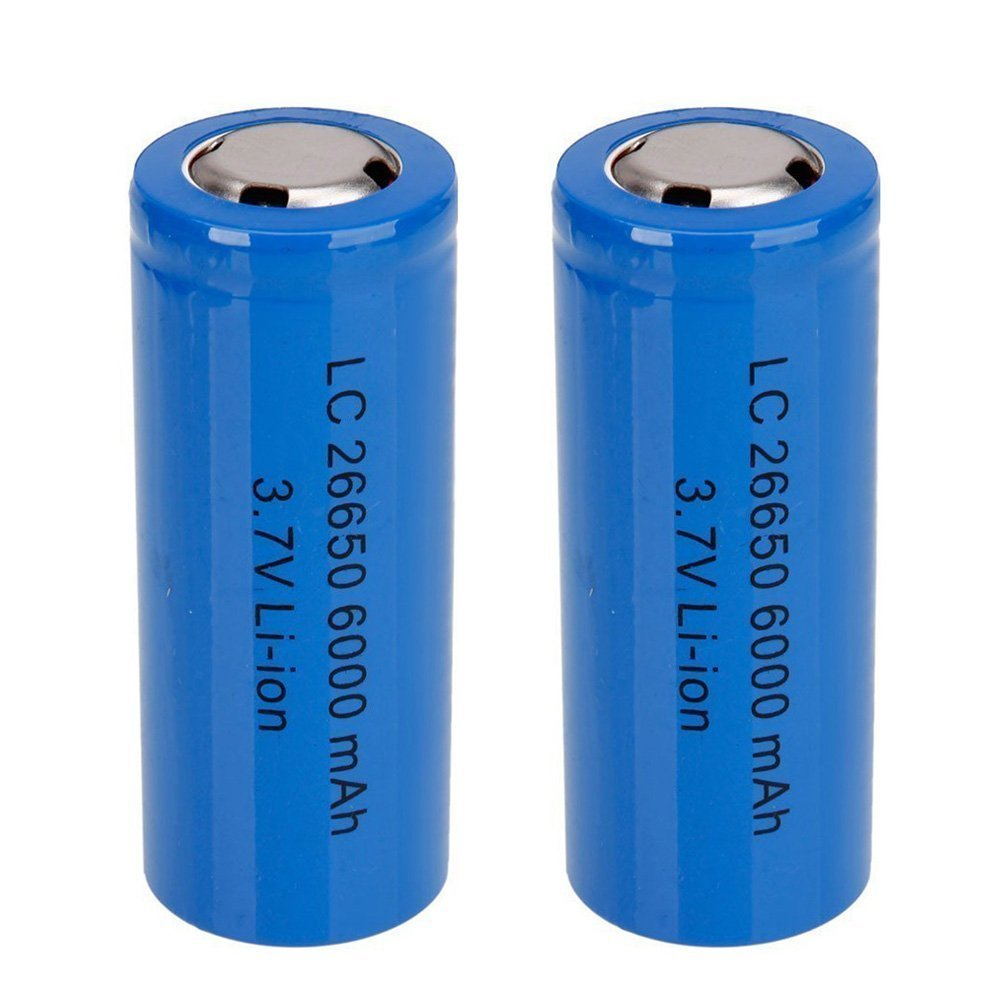 26650 3.7V 6000mah Rechargeable Batteries Li-ion Battery for Flashlight Electric Tools Electric Bicycles Electric Vehicles Blue 2-Pack