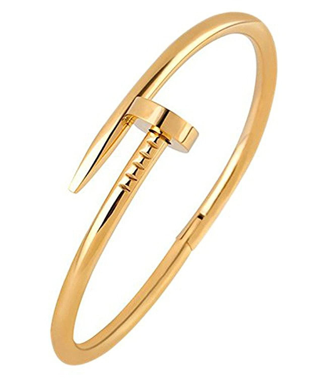 93d8810fb Original Titanium Steel Illusion Nail Bend Wrist Cuff Gold Tone Bracelet  for Men & Women: GadgetsDen: Amazon.in: Jewellery