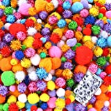 Caydo 2000 Pieces Assorted Sizes Multicolor Pompoms Glitter Pom Poms with 4 Sizes Wiggle Eyes for Hobby DIY Art Craft Supplies