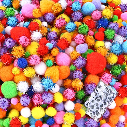 Caydo 2000 Pieces Assorted Sizes Multicolor Pompoms Glitter Pom Poms with 4 Sizes Wiggle Googly Eyes for Hobby Supplies and Creative Craft DIY -