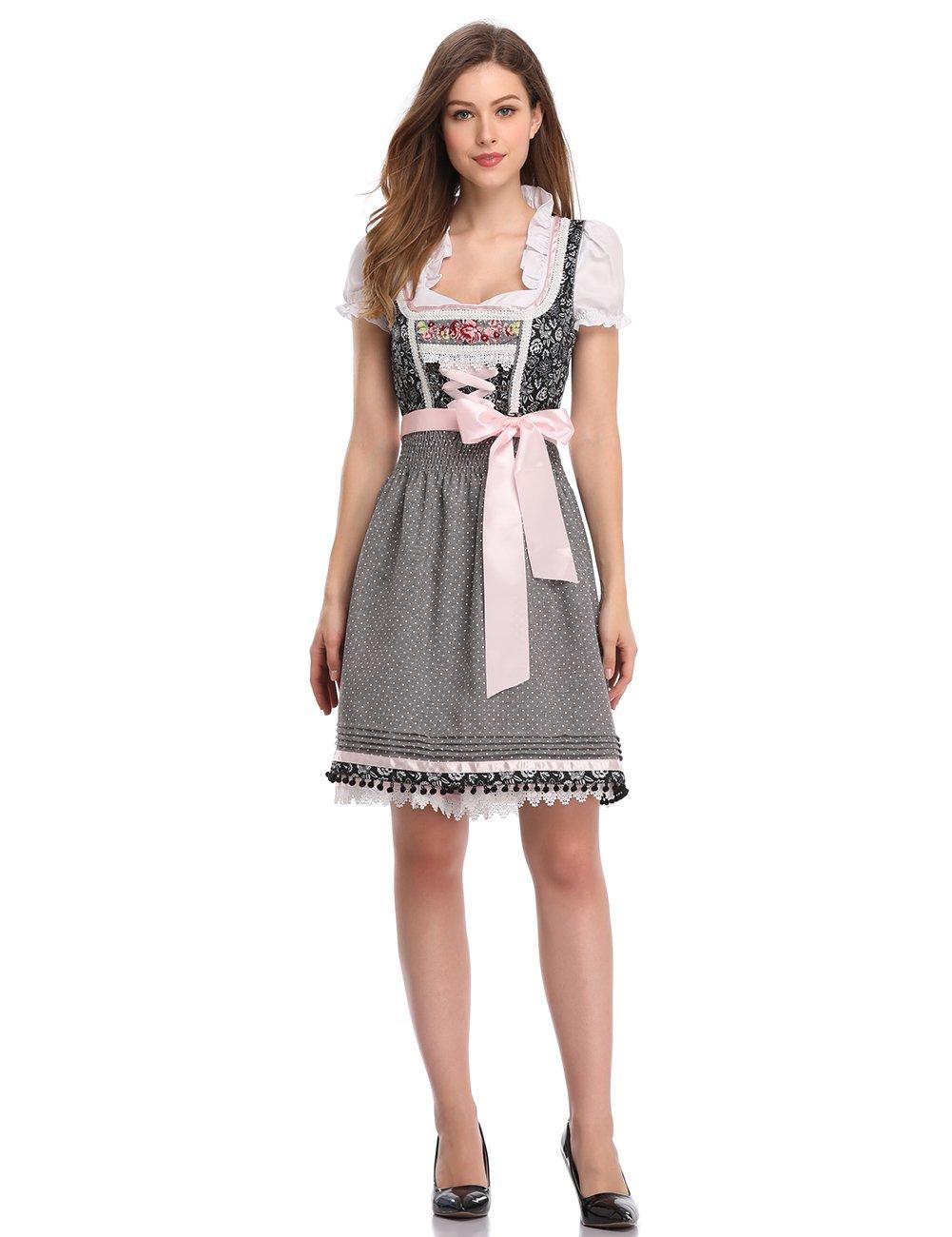 GloryStar Women's German Dirndl Dress 3 Pieces Oktoberfest Costumes (2XL, Black Grey-SZ-New)