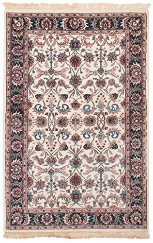 (eCarpet Gallery Area Rug for Living Room, Bedroom | Hand-Knotted Wool Rug | Royal Kashan Bordered Ivory Rug 4'0