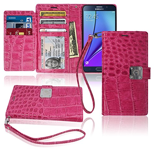 Note5 Wallet Case, Matt [ 8 Pockets ] 7 ID / Credit Card 1 Cash Slot, Power Magnetic Clip With Wrist Strap For Samsung Galaxy Note 5 Leather Cover Flip Diary (Pink)