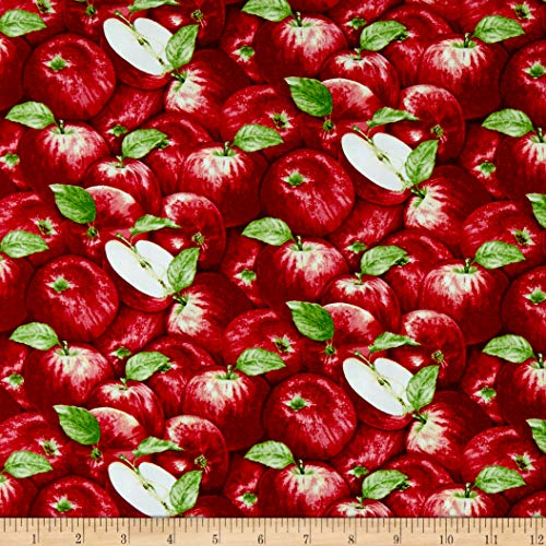 Henry Glass & Co. Apple Festival Packed Apples Red Fabric Fabric by the - With Fabric Apples