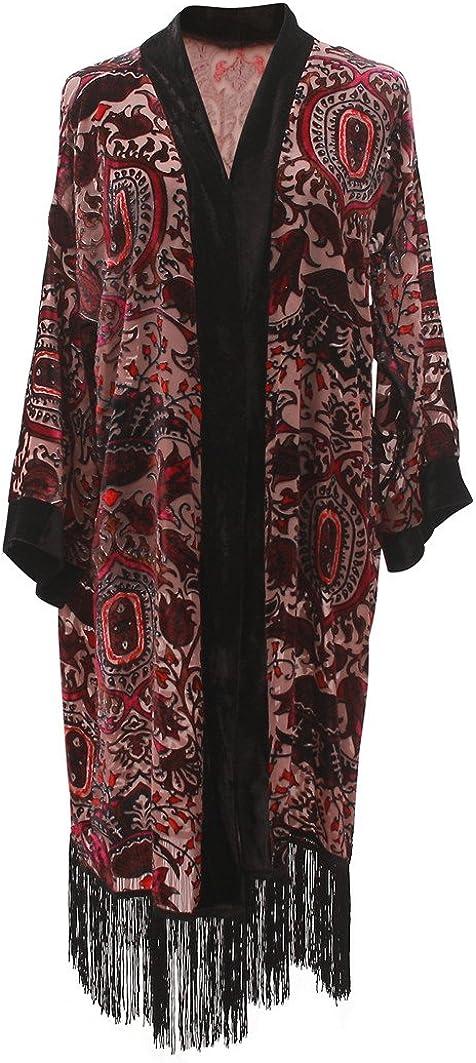 Women's Long Burnout Velvet Sleeves Kimono Cardigan with Fringe