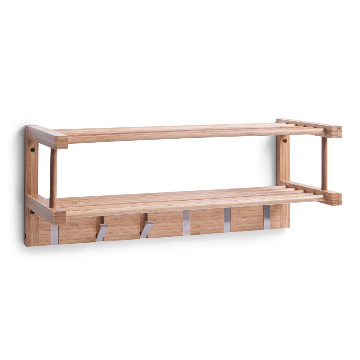Zeller 13583 Appendiabiti a parete in legno di bambù 60x24x24 cm 5711