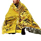 SUPOW(TM) New Foldable Gold Emergency Blanket Rescue Solar Thermal Space Mylar Blanket First Aid Warm Foil Blanket Shelters Waterproof Emergency Survival Insulation Blankets Emergency Camping Tent Bag Mat Rain Cape For Outdoor Sports Travel Hiking Climbing