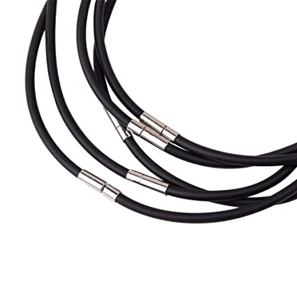 Pandahall 5 Strands 18 11 Inches 4mm Black Rubber Necklace Jewelry Making,  with Platinum Color Brass Box Clasps