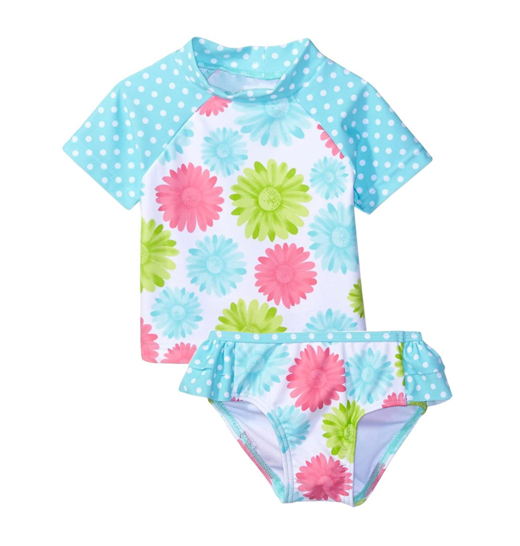 Baby Little Girls Rash Guards Swimsuit Kids Two Pieces Swimwear UV Sun Protective Beachwear UPF 50+