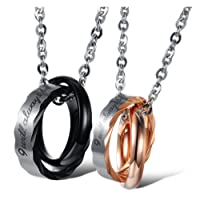MoAndy Stainless Steel Couple Matching Necklace Pendant Interlocking Double Rings Engraved Promise Chain