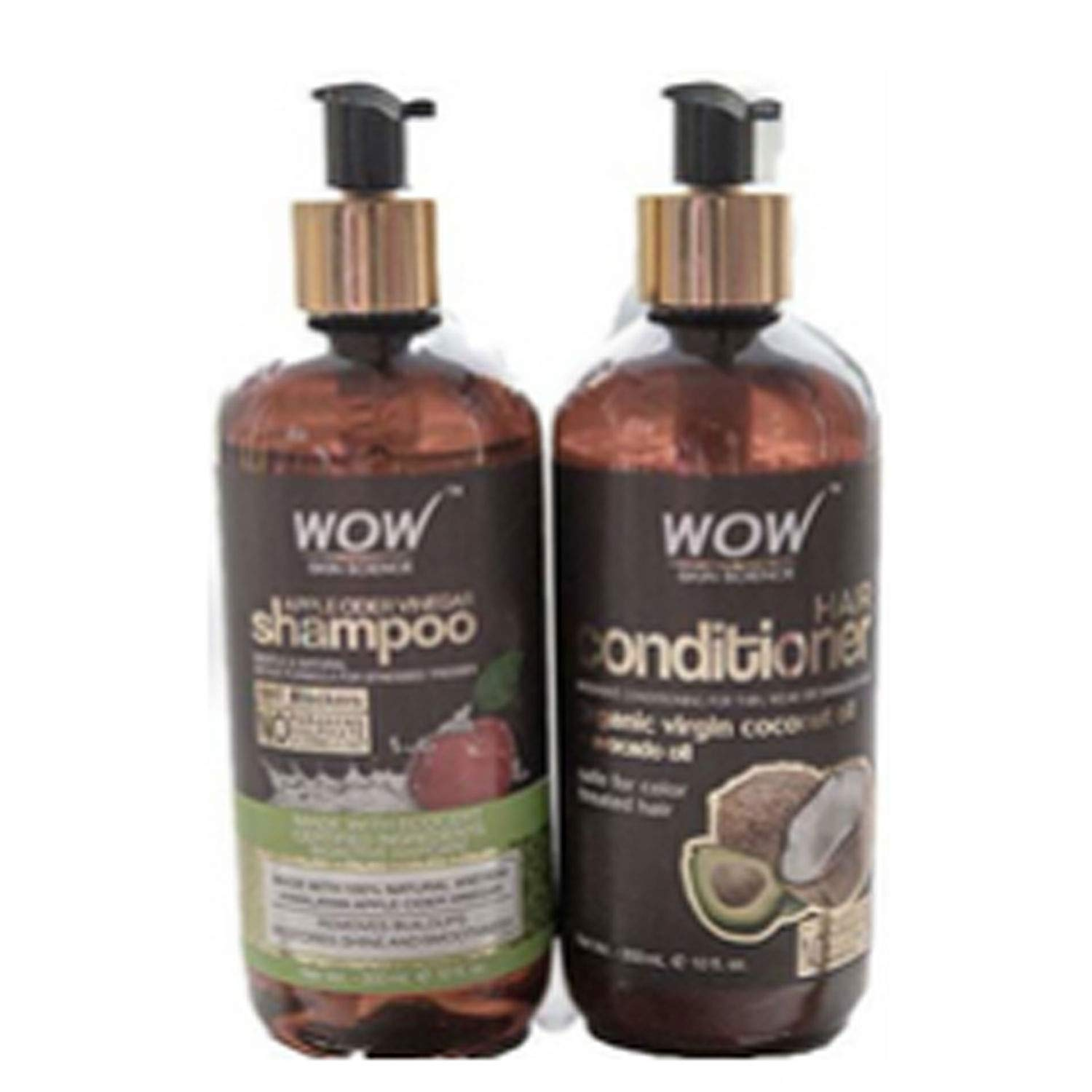Wow Apple Cider Vinegar Hair Shampoo and Wow Hair Conditioner Set- Clarifying, Damage Repair, Antifungal, Anti Bacterial, Vegan- no Sulphate or ...