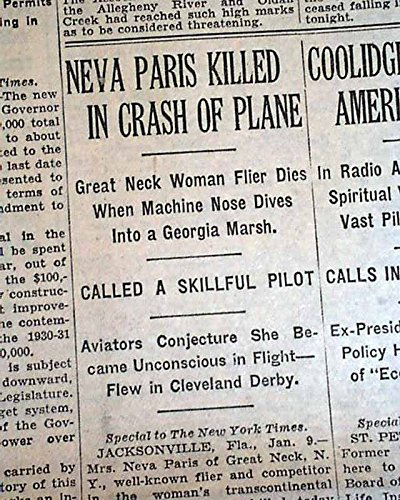 NEVA PARIS Great Neck NY WOMAN Aviator Killed Airplane Crash 1930 NYC Newspaper THE NEW YORK TIMES, January 10, - Aviator Nyc