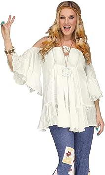 Horror-Shop 60s Hippie blusa de algodón blanco One Size: Amazon.es ...