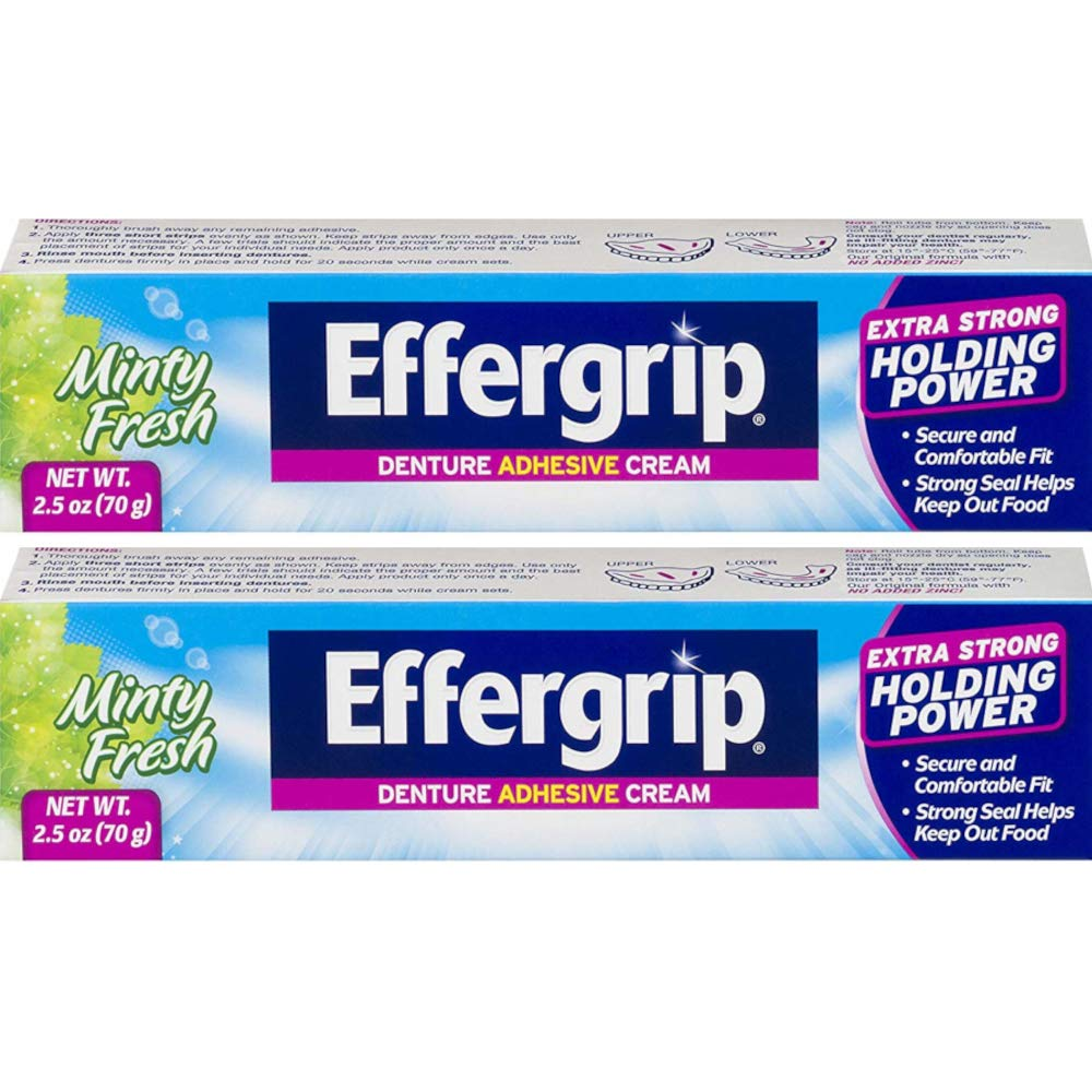 Effergrip Extra Strong Denture Adhesive Cream, Zinc Free, 2.5 oz - 2pc : Beauty