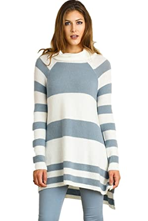 Umgee Women's Long Sleeve Striped Cowl Neck Sweater Tunic at ...
