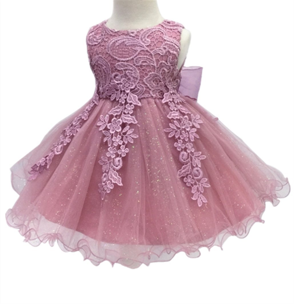 HX H.X Baby Girl's Lace Gauze Christening Baptism Wedding Dress With Petticoat (24M/Fit 18-24 Months, Dark Pink)