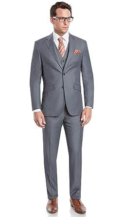 Mens EXTREME Slim Fit Short-cut Notched Lapel 3 Piece Suit by