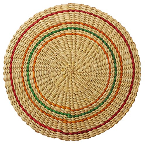 PLACEMAT BEIGE COLOR – Handmade Circle Shaped Trivet / Placemat with Colorful Circular Lines Pattern – Hand-Woven in Eco-Friendly Water Reed – Dining …