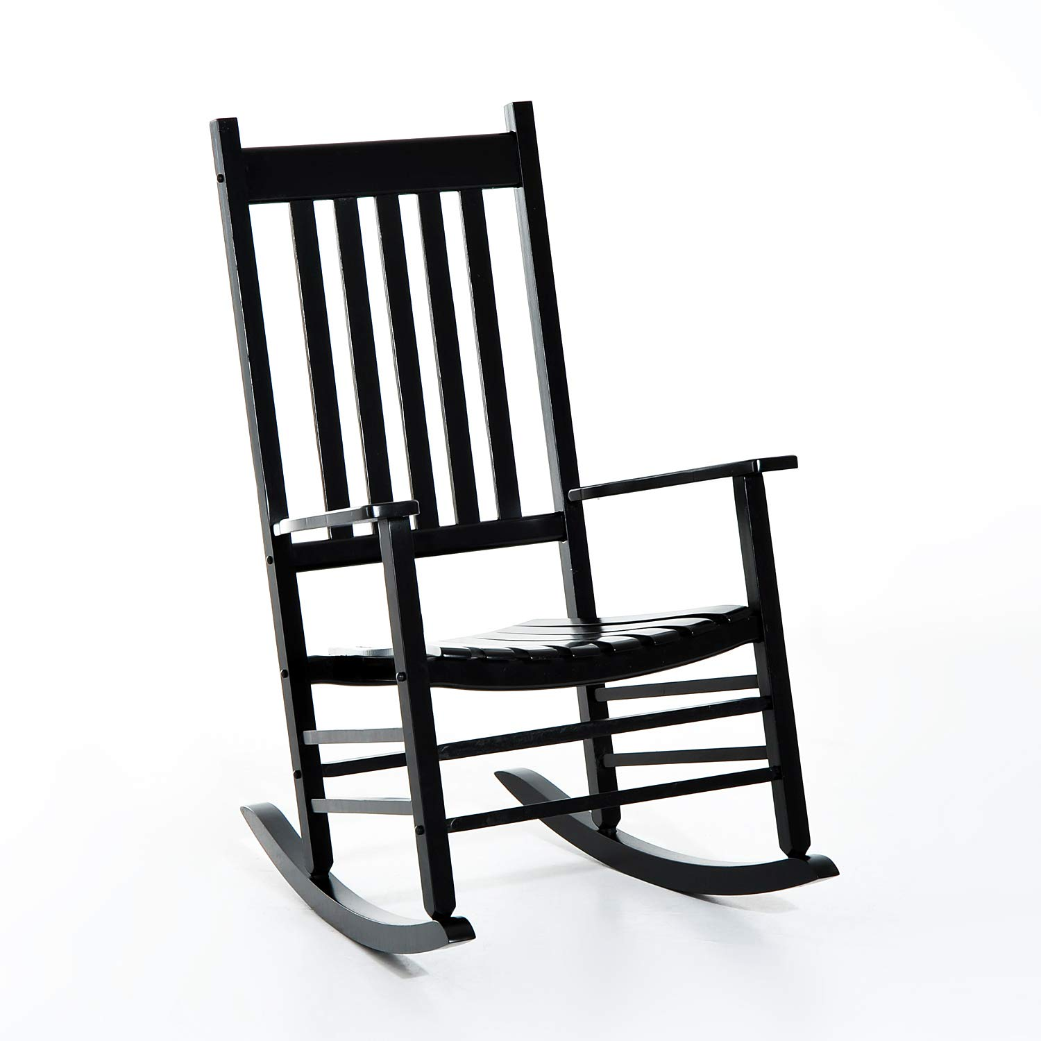 Outsunny Porch Rocking Chair - Outdoor Patio Wooden Rocker - Black by Outsunny