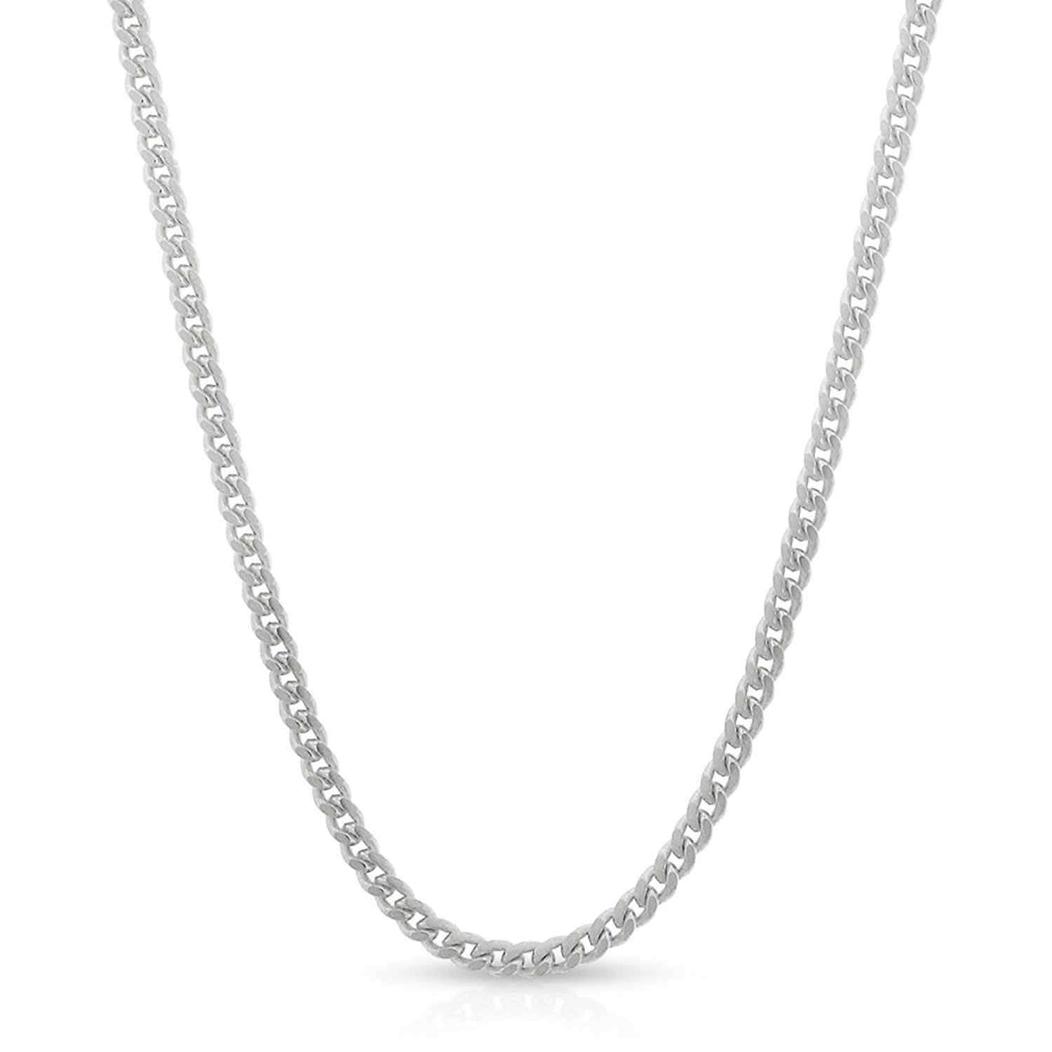 14k White Gold 2mm Solid Miami Cuban Curb Link Thick Necklace Chain 16'' - 30'' (24)