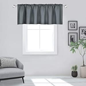 DECOVSUN Gray Valance for Windows 60x18 Inch Solid Thermal Insulated Blackout Rod Pocket Kitchen Short Curtain Toppers Grey Valance for Bathroom Living Room 1 Panel