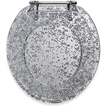Ginsey Silver Foil Resin Toilet Seat By Hometodeals