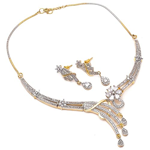 41832f696be Buy Geode Delight Gold Plated American Diamond Cz Necklace Set for Women  Online at Low Prices in India