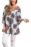 YONYON Women V Neck Criss Cross Floral Print 3/4 sleeve causal blouse tops