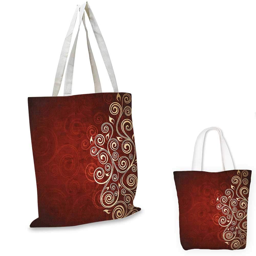 Burgundy Decor canvas messenger bag Floral Flower Swirl Ivy Image with Ombre Grunge Backdrop Artwork canvas beach bag White Ruby and Red 14x16-11
