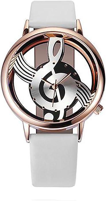 Yusealia Relojes Pulsera Mujer Despeje, Casual Reloj Banda de Cuero Notación Musical de la Nota Dama Relojes para Negocio Relijes de Espejo de Vidrio de ...