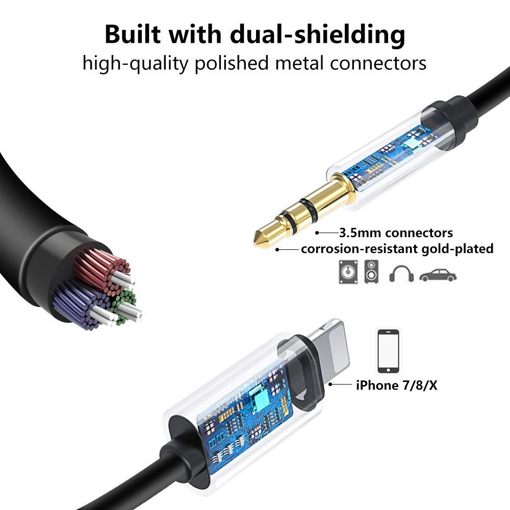 3.5mm Premium Auxiliary Audio Cable Accessories BLL-RVSDWNALTCMFT-K//CK-BGDY//GRY Upgraded Buteny Car Aux Cable Compatible with iPhone 7//8//X,