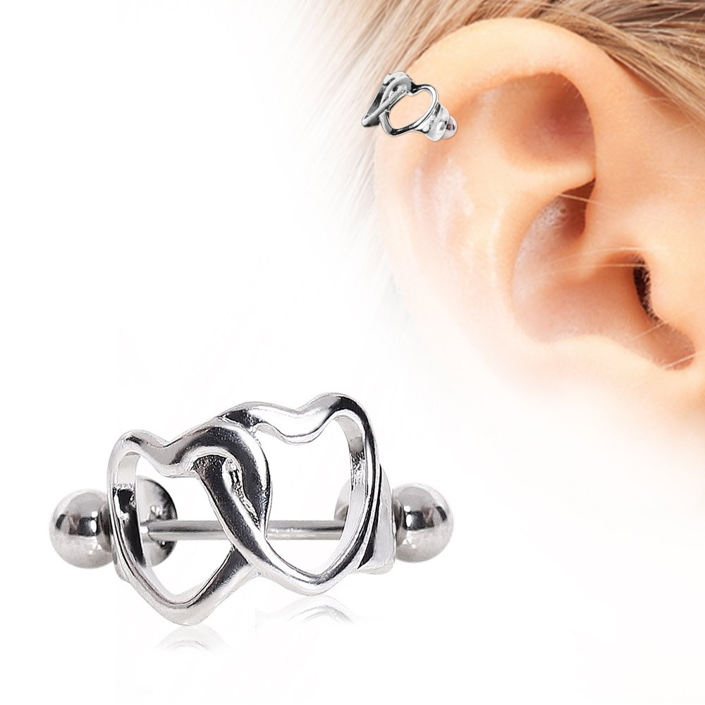 Interlocked Hearts Cartilage Cuff 316L Surgical Steel