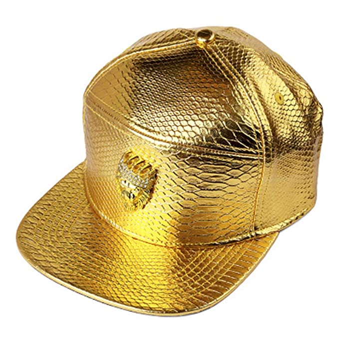 9b9488f90948b MCSAYS Hip Hop Gold Crown Lion Head with Rhinestone PU snap Leather Sports Caps  Baseball Cap