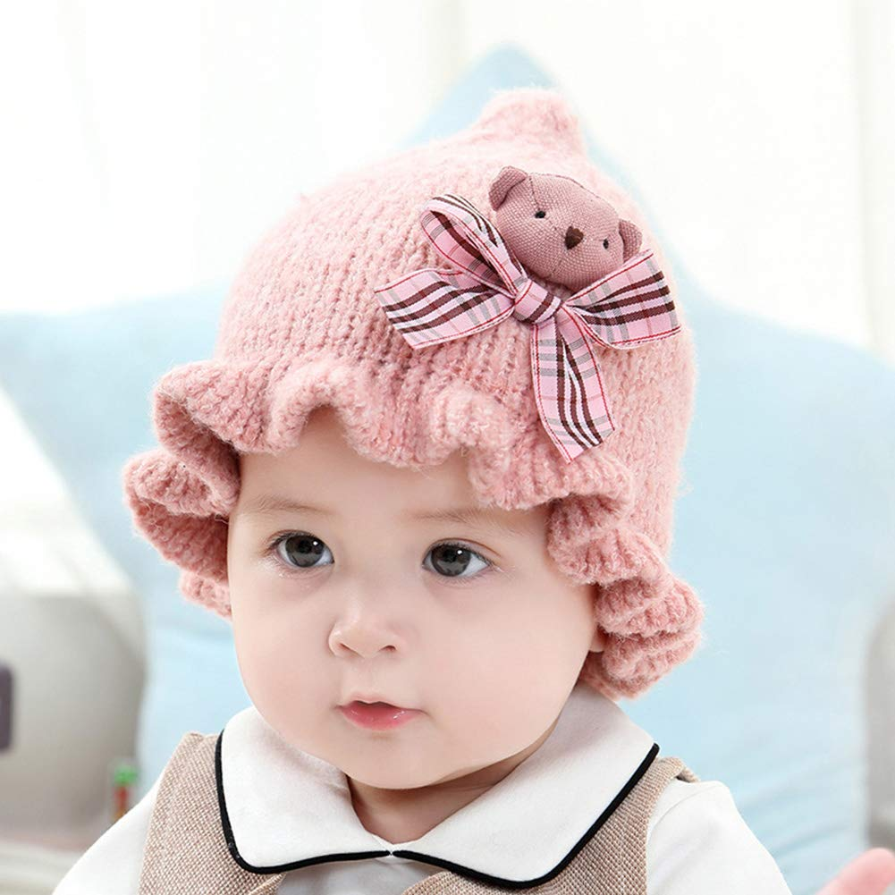 Bingirl Baby Knitted Cap Cute Cartoon Bear Woolen Yarn Ball Ruffled Brim Autumn Winter Warm Hat Infant Toddler Caps Kids Brown